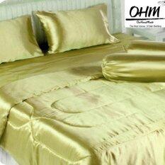 ทบทวน Ohm ผ้าปูที่นอน ผ้าเครปซาติน 220 เส้น ขนาด 6 ฟุต 5 ชิ้น สีทอง