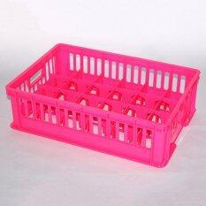 Ok M Shop ลังคว่ำแก้ว 24 ช่อง สีชมพู ถูก