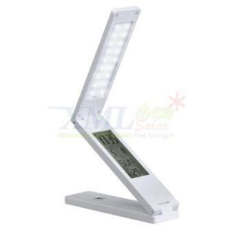 โคมไฟตั้งโต๊ะโซล่าเซลล์ 18 SMD LED + นาฬิกา