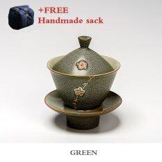 ซื้อ One Flower One World Ea Sets Chinese Kung Fu Tea Set Coarse Pottery Lidded Cup Green Intl ถูก