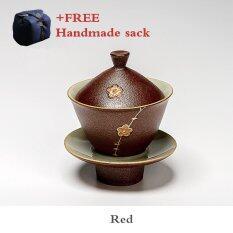 ขาย ซื้อ One Flower One World Ea Sets Chinese Kung Fu Tea Set Coarse Pottery Lidded Cup Red Intl ใน จีน