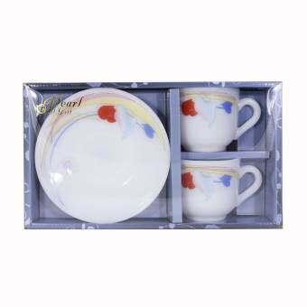 Pearl Opal Glassware: ชุดของขวัญโอปอล แก้วกาแฟพร้อมจานรอง 2 ชุด ลาย Anthurium Blue (ATB)