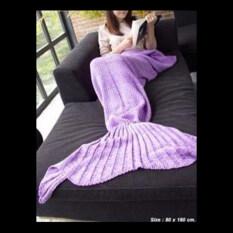 ราคา ผ้าห่มไหมพรมทรงหางนางเงือก หางปลา สีม่วง ใน กรุงเทพมหานคร