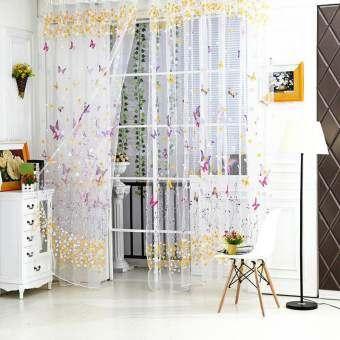 ผีเสื้อดอกไม้บานเกล็ดบานเกล็ด Widow ผ้าม่านโรส 100*200 เซนติเมตร-