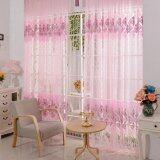 ขาย ซื้อ ผ้าม่าน Voile เชียร์ พิพม์ลายดอกไม้สีชมพูสำหรับหน้าต่าง จีน