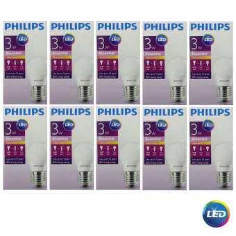 Philips หลอดไฟ LED Bulb 3W Essential แสงวอร์มไวท์ ขั้วเกลียว E27 ( 10 หลอด )
