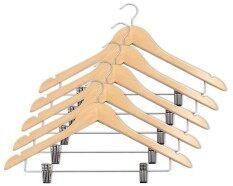 Play Boutique ไม้แขวนเสื้อเนื้อไม้แท้ พร้อมที่หนีบ รุ่น Real Wood Hangers With Clips (แพ็ค 5 ชิ้น).
