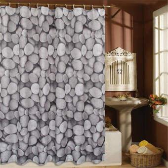 ผ้าโพลีเอสเตอร์ชุดผ้าม่านห้องน้ำสีขาวหินสีดำ 180 เซนติเมตร + 12 ตะขอ - นานาชาติ-