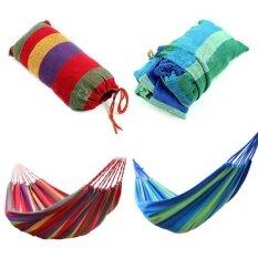แบบพกพากลางแจ้ง Garden Hammock Hang เบาะท่องเที่ยวแคมป์ปิ้งผ้าใบผ้าใบลาย ใหม่ล่าสุด