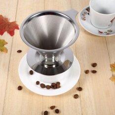 ส่วนลด แบบพกพาสแตนเลสสตีลเทกว่ากรวย Dripper ขาตั้งถ้วยกาแฟ Maker Parts นานาชาติ