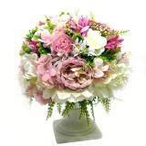 ราคา แจกันดอกไม้ประดิษฐ์ ทรงโรมัน โทนสีพาสเทล ชมพูกุหลาบ ดอกไม้ปลอมสวยงามเหมือนจริง ใหม่ล่าสุด
