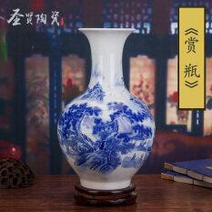 โปรโมชั่น จีนสีฟ้าและสีขาวพอร์ซเลนแจกันโบราณตกแต่งบ้านเซรามิกงานฝีมือแจกัน ใน ฮ่องกง