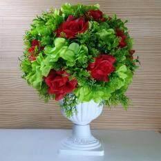 ส่วนลด แจกันโรมัน ดอกไม้ประดิษฐ์โทนสีเขียวแดง ดอกไม้ปลอมสวยงามเหมือนจริง Unbranded Generie กรุงเทพมหานคร
