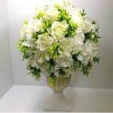 ส่วนลด แจกันดอกไม้ประดิษฐ์ทรงโรมัน วินเทจ โทนสีขาว ดอกไม้ปลอมสวยงามเหมือนจริง ทรงสูง