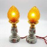 ขาย ชุดเชิงเทียนไฟฟ้า ดอกบัว เทียนไฟฟ้า ดอกบัว สีเหลือง Tambon Online เป็นต้นฉบับ