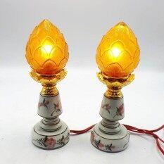 ขาย ชุดเชิงเทียนไฟฟ้า ดอกบัว เทียนไฟฟ้า ดอกบัว สีเหลือง Tambon Online ถูก
