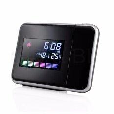 ซื้อ Projection Digital Weather Lcd Snooze Alarm Clock Color Display W Led Backlight Intl ใน จีน