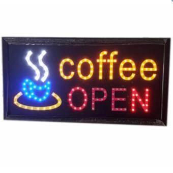 PT ป้ายไฟLED Coffee OPEN ป้ายไฟสำเร็จรูป ขนาด48*25 ซม. อักษร ตกแต่งหน้าร้านกาแฟ LED SIGN ข้อความ