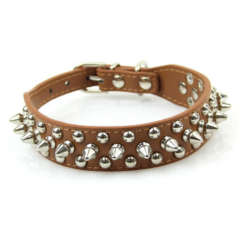 PU Leather Rivet Spiked Studded Pet Puppy Dog Collar Adjustable Neck Strap (Coffee)