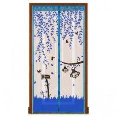 โปรโมชั่น Punpuntoys ม่านประตูแถบแม่เหล็กกันยุง แม่เหล็ก 7 จุด ลายลิงน้อย สีฟ้า