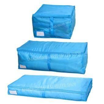 Purifyกระเป๋าจัดเก็บเสื้อผ้า ผ้าห่ม และผ้านวม (เซ็ท3ชิ้น สีฟ้า)