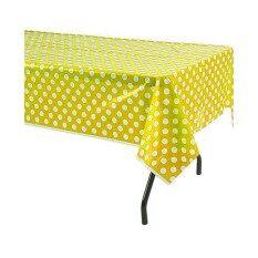 ผ้าปูโต๊ะพลาสติก Pvc กันเปื้อน กันน้ำ - ลายจุดสีขาว-เหลือง 54.