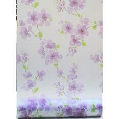 สติ๊กเกอร์ติดกระจกแต่งบ้านโปร่งแสง(ลายดอกไม้สีม่วง) หน้ากว้าง90เซน ยาว2เมตร เนื้อ Pvc มีกาวในตัว  .