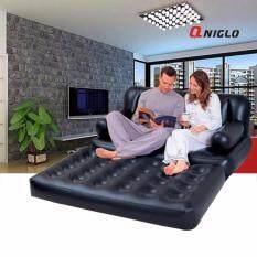 ขาย Qniglo Inflatable Sofa Multi Functional Couch Daybed Lounger Airbed Pull Out Sofa Couch Full Double Air Bed Mattress Seat Black ออนไลน์