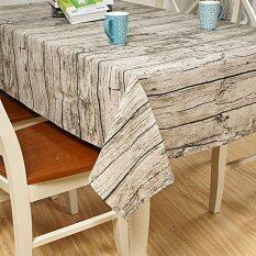 Rectangle Europe Wood Striped Grain Table Cloth Cotton Linen Tablecloth For Table Home Waterproof Oilproof Table Cloth Intl เป็นต้นฉบับ