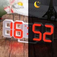 Red Led Digital Numbers Wall Clock With 3 Levels Brightness Alarm Snooze Clock Intl ถูก