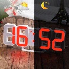 ทบทวน Red Led Digital Numbers Wall Clock With 3 Levels Brightness Alarm Snooze Clock Intl