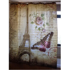 ราคา Retro Eiffel Tower Butterfly Shower Curtain Bathroom Waterproof Fabric Intl Unbranded Generic ใหม่