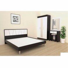 ทบทวน ที่สุด Rf Furniture ชุดห้องนอน ทอร์นาโด 6ฟุต เตียง 6 ฟุต ตู้เสื้อผ้า 3 บาน โต๊ะแป้ง 60 Cm ที่นอนสปริง สีโอ๊คดำ ขาว