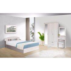 โปรโมชั่น Rf Furniture ชุดห้องนอน Bc501 5 ฟุต เตียง 5 ฟุต ตู้เสื้อผ้า 3 บาน โต๊ะแป้ง 60 Cm ที่นอนสปริง สีโซลิค ถูก
