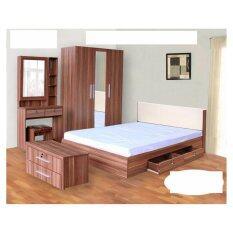 ขาย ซื้อ Rf Furniture ชุดห้องนอน Dd รุ่น Milano Set ขนาด 6 ฟุต เตียง 6 ฟุต ตู้เสื้อผ้า 3 บาน โต๊ะแป้ง 80 Cm สีวอลนัท