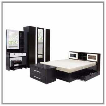 RF Furniture ชุดห้องนอนบานเลือน DD รุ่น Milano Set ขนาด 6 ฟุต เตียง 6 ฟุต + ตู้เสื้อผ้า  3 บาน + โต๊-