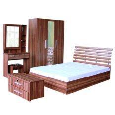ซื้อ Rf Furniture ชุดห้องนอนDd 6 ฟุต เตียง 6 ฟุต ตู้เสื้อผ้า135Cm โต๊ะแป้ง 80 ชม ตู้ข้างเตียง ที่นอนสปริง สีวอลนัท ใหม่