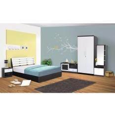 Rf Furniture ชุดห้องนอนระแนง 6 ฟุต เตียง 6 ฟุต ตู้เสื้อผ้า 2 บาน โต๊ะแป้งยืน 60 Cm ตู้วางทีวี ตู้ข้างเตียง ที่นอนสปริง สีโอ๊ค ขาว กรุงเทพมหานคร