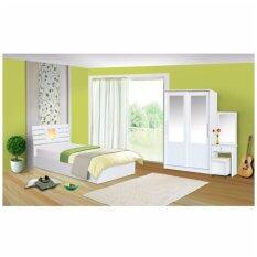ราคา Rf Furniture ชุดห้องนอนระแนงไฟ ฟุต เตียง 3 5 ฟุต ตู้เสื้อผ้าบานเลือน 120 Cm โต๊ะแป้ง60 Cm สีขาว Rf Furniture กรุงเทพมหานคร