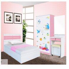 Rf Furniture ชุดห้องนอนระแนงน่ารัก เตียง 3 5 ฟุต ตู้เสื้อผ้า 90 Cm โต๊ะแป้ง60Cm ที่นอนสปริง สีชมพู ขาว เป็นต้นฉบับ
