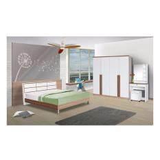ราคา Rf Furniture ชุดห้องนอนตารางเมลามีน 5 ฟุต เตียง 5 ฟุต ตู้เสื้อผ้า 4 บาน ขนาด180 Cm โต๊ะแป้ง 80 Cm สีคาปูชิโน่ ขาว ถูก