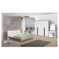 ราคา Rf Furniture ชุดห้องนอนตารางเมลามีน 6 ฟุต เตียง 6 ฟุต ตู้เสื้อผ้า 4 บาน ขนาด180 Cm โต๊ะแป้ง 80 Cm สีคาปูชิโน่ ขาว ถูก