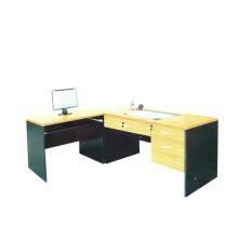 Rf Furniture ชุดโต๊ะทำงานเข้ามุม หน้าท็อปผิวเมลามีน รุ่น Ml สีเชอร์ร่ ดำ ใหม่ล่าสุด