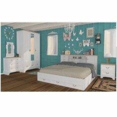 ขาย ซื้อ ออนไลน์ Rf Furniture ชุดห้องนอJasmine จัสมิน Set 6 ฟุต เตียง 6 ฟุต ตู้เสื้อผ้า 3 บาน โต๊ะแป้ง 80 Cm ตู้ข้างเตียง สีขาว บีช