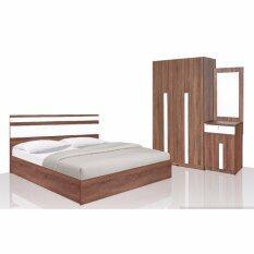 ซื้อ Rf Furniture ชุดห้องนอSandy Set 6 ฟุต เตียง 6 ฟุต ตู้เสื้อผ้า 3 บาน โต๊ะแป้ง 60 Cm สีวอลนัท ขาว ใหม่