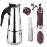 ราคา Rongstore เครื่องทำกาแฟStainless 4 Cupพร้อมเครื่องบดมือหมุนและกาแฟคั่ว 200G ที่สุด