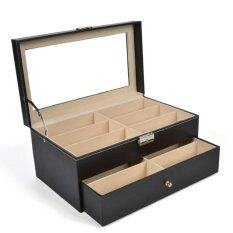 Room Story กล่องใส่แว่น 12 ช่อง (2 ชั้น) : Leather Glasses Box  (สีดำ-เบจ).