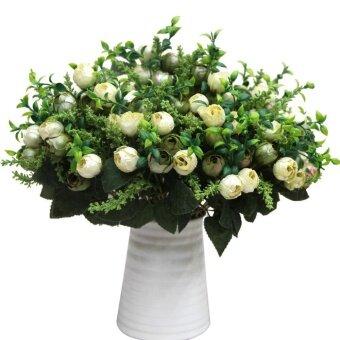 ชากุหลาบ Buds ดอกไม้ประดิษฐ์จากผ้าไหมเพิร์ลใหม่