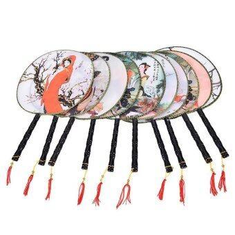 Round Fan Chinese Elegant Pattern Polyester Fan Home Decor - intl
