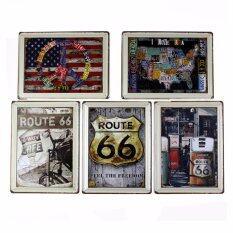 แผ่นเหล็ก ชุด Route66  จำนวน 5 ภาพ ต่อชุดไม่ซ้ำกัน Route 66 Route Bar Cafe Living Room Metal Painted.
